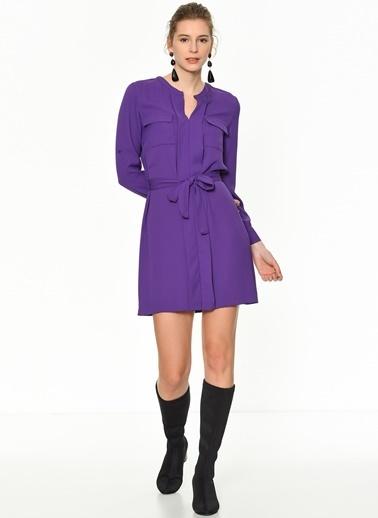 Random Çift Cepli Beli Bağlama Detaylı Elbise Mor